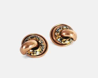 Vintage 50s COPPER EARRINGS / 1950s Signed Matisse Black, White & Gold Enamel Modernist Clips