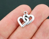 10 Hearts Charms Antique Silver Tone Intertwined Linked Hearts - SC2138