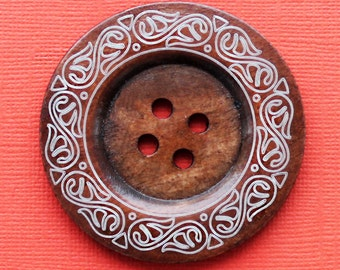2 Wood Buttons Extra Large 60mm Rich Brown with Abstract Design - BUT090