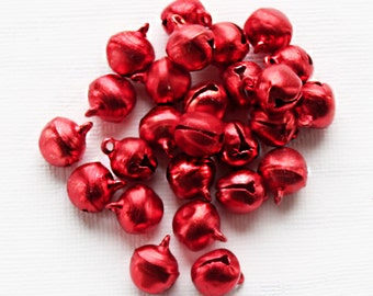 25 Jingle Bells Ideal for Christmas Projects Metallic Red Aluminum Sleigh Bell - XC111