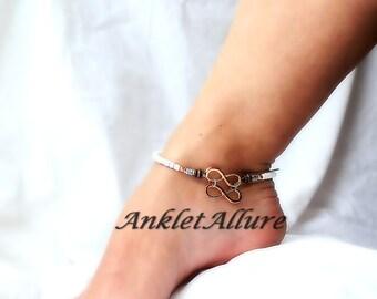 Double Infinity Anklet Rose Gold Ankle Bracelet Metal Fusion Copper Gold Silver Ankle Bracelet