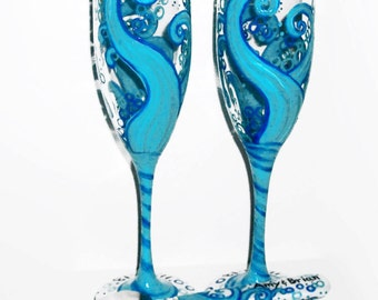 Ocean Blue Waves 4 Piece Wedding Set Cake Knife & Server Set With Two 6 oz. Hand Painted Champagne Flutes Wedding Toasting Flutes Aqua Blue