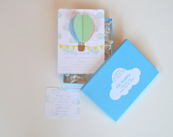 3D Hot Air Balloon invitation, with paper shreds and box, Hot Air Balloon Baby Shower invite, Gender Reveal invitation, Neutral Baby Shower
