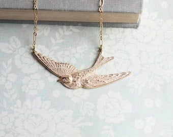 White Bird Necklace Statement Necklace Raw Gold Brass Flying Bird Pendant Woodland Jewelry Nature Inspired Modern Boho Fashion Accessories