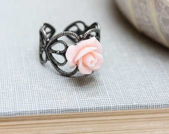 Pink Rose Ring Tiny Flower Ring Dainty Flower Ring Adjustable Filigree Band Country Chic Jewelry Romantic Gift for Girlfriend Gift Under 20