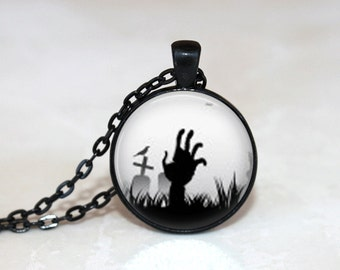 Halloween Necklace Glass Tile Necklace Halloween Jewelry Glass Tile Jewelry Holiday Jewelry Zombie Jewelry Black Jewelry Silver Jewelry