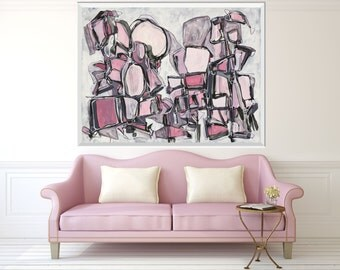 Large Abstract Painting, ORIGINAL Painting, Abstract Art, Acrylic Ink Painting, Pink Gray White Black Painting, Whimsical Art, Line Painting