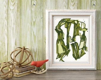 Abstract ORIGINAL Painting, Olive Green Painting, Abstract Ink Painting, Abstract Green Line Painting, Abstract Nature Painting, Whimsical