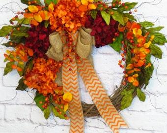 Autumn Wreath, Fall Hydrangea Wreath, Fall Decor, Fall Wreath, Fall Grapevine Wreath