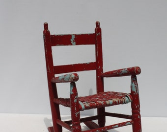 Vintage Child's Rocking Chair Wood Wooden Woven Seat Red Blue Painted Painty Peely Rustic Distressed Farmhouse Doll Display Nursery Decor