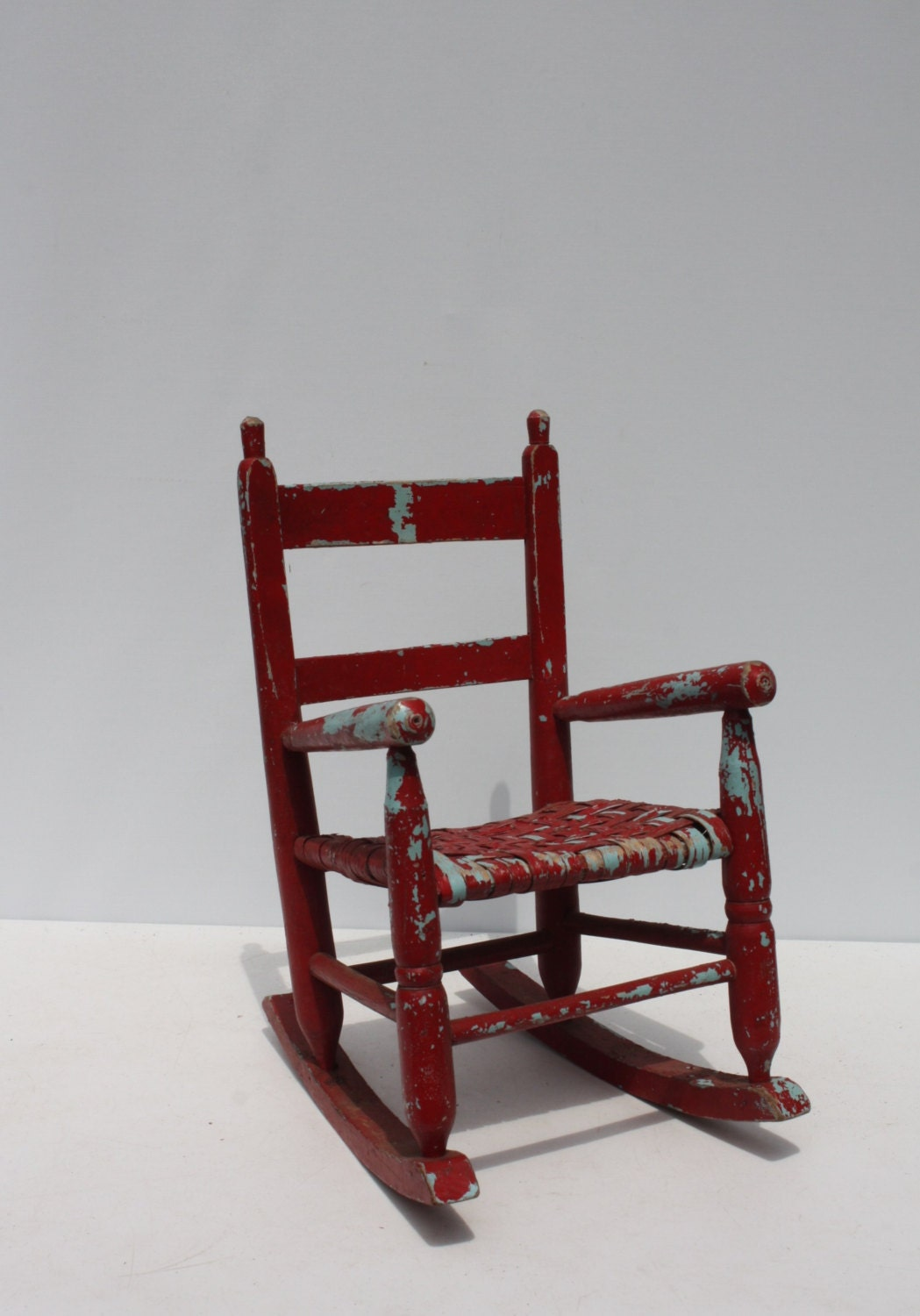 Child Red Rocking Chair ~ Vintage child s rocking chair wood wooden woven seat red