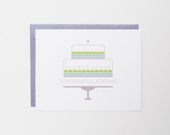 Congratulations Greeting Card | Celebration | Wedding Cake note card