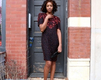 Vintage Sequin and Beaded Red/Black Party Dress