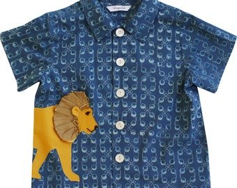 Boy's Lion Shirt //Cotton Summer Shirt //Dress Shirt //Boys Handmade Clothing //Toddler Boy Birthday Shirt