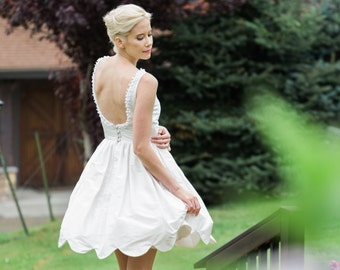 Backless Short Silk Wedding Dress, POPPY, White, Ivory, Colors