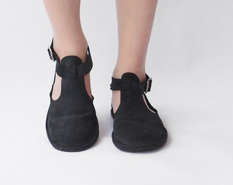 Handmade Cut-out flat leather shoes - Black - CUSTOM FIT