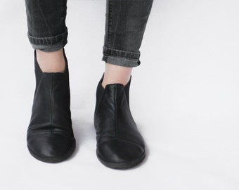 Chelsea boots - Floater black - Handmade zero drop Leather Boots - CUSTOM FIT