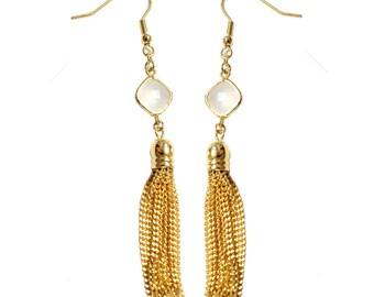 Gold Tassel Earrings - Metal tassel earrings with opal white stone accent - trendy celebrity everyday simple jewelry