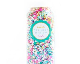 Sugar Fairy Twinkle Sprinkle Medley, Holiday Sprinkles, Pink and Gold, Sprinkle Mix, Turquoise Sprinkles, Gold Beads -- Med (8 oz)