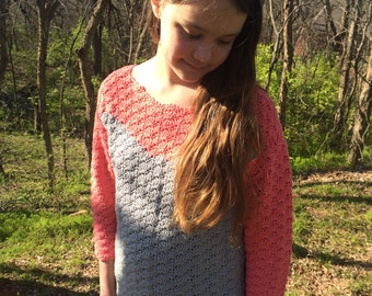 CROCHET pattern, over-sized pullover SWEATER