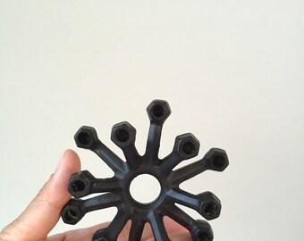 in original box mid century modern danish metal taper candlestick holder / spider candelabra