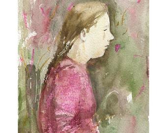 Girl watercolor painting portrait original people figurative illustration