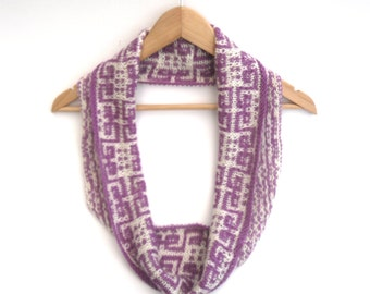 Ethnic Mosaic Pattern infinity scarf , Hand knitted cowl scarf in Cashmere, merino and mohair , Autumn / Winter accessory , Women's cowl