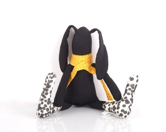 Easter bunny , Plush SMALL black baby rabbit doll in Yellow dotted  scarf & Black white Spotted socks - timohandmade fabric eco suffed doll