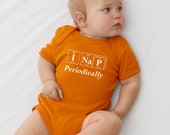 I NAP PERIODICALLY Periodic Table Onesie  by Periodically Inspired -  New Baby Bodysuit For Periodic Table Fans (Mandarin Orange)