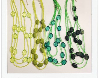 The Kinsey Necklace in FOREST GREEN | Triple Strand Necklace | Seed Bead Necklace | Three Layer Necklace | Faceted Bead Necklace |