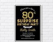 Elegant birthday invitation, glitter gold birthday any age 13th 18th 40th 50th 60th 70th 80th 90th Surprise birthday invitation - card 754