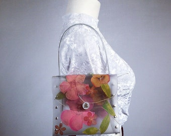 90's Clear PVC Box Mini Purse with Real Pressed Flowers