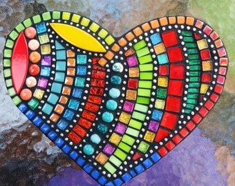 """CUSTOM MOSAIC Heart with Multicolored Glass, Gems, Glitter Tiles, Ceramic, Mirror Tiles and Silver Ball Chain -  9"""" x 7"""" - OOAK  /  Unique!!"""