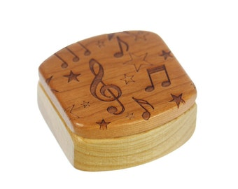 "Music Wooden Box, Solid Cherry, Pattern MS22 Music Notes, 1-3/4""L x 1-7/8""W x 7/8""D, Paul Szewc"