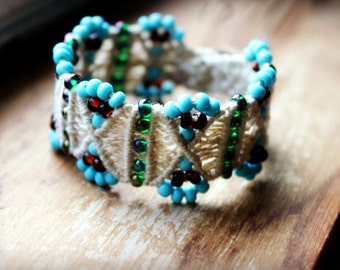 Turquoise and Brown Beaded Hemp Bracelet