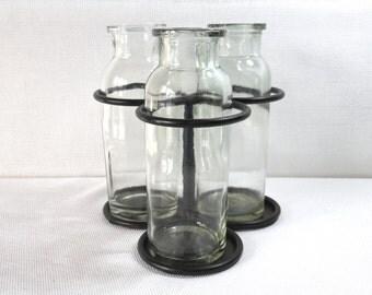 Antique Milk Creamer Bottles with Iron Stand