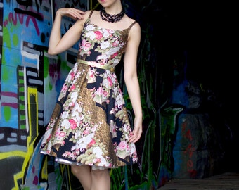 Party dress with an Asian inspired print on black, with a pleated skirt , sizes US 0 to 16 / party dress / prom dress / little black dress