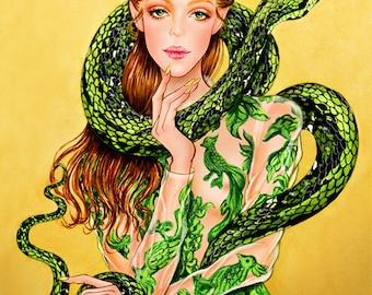 Serpent - Watercolor Fashion illustration