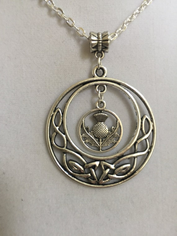 Silver Celtic Design And Scottish Thistle Pendant By