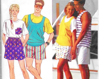 Simplicity 9720 Stretch Knit Tank Top & Boxer Shorts Sewing Pattern Chest 38 to 48