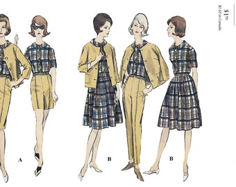 Vogue 6098 Misses' 60s Coordinates: Jacket Shirt Skirt Bermuda Shorts & Pants Sewing Pattern Bust 34