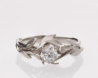 Leaves Engagement Ring No. 4 - Platinum engagement ring, unique engagement ring, leaf ring, filigree, antique, vintage, Diamond Ring