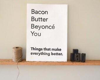 Best Friend Gift Bacon Butter Bey Linocut Print Wall Art Poster Home Decor Art Print Handmade Letterpress Girlfriend Wife Gift