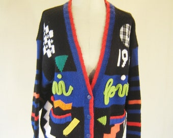 Weird Tacky Knit Sweater Cardigan Top