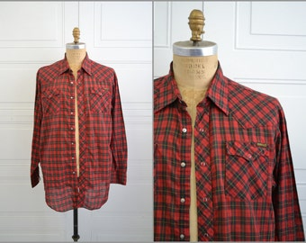 1970s Roebucks Red Plaid Shirt