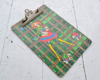 1970s Plaid Clipboard with Girl and Scotties