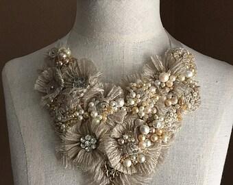 MINERVA Pearl Textile Statement Necklace