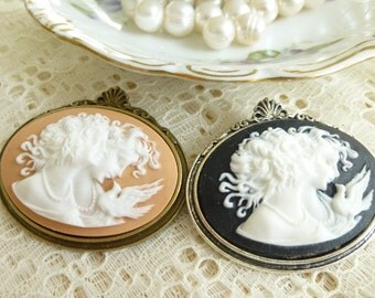 Vintage Style Mother Daughter Sisters Cameo Brooch pin in Antique Bronze or Silver