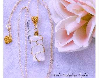Selenite Crystal Necklace , Protection , Healing , Calming  ,Psychic Awareness,  Mental Clarity, Dispel NegativityBy Tranquilityy