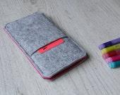 Nexus 6P, 6, Nexus 5X, 5, Nexus 4 sleeve pouch case handmade light felt and pink with pocket
